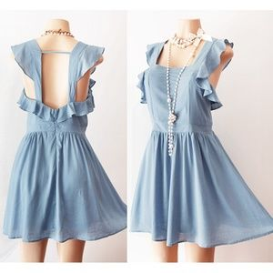 Last✌️ Denim Blue Ruffle Open Back Pinafore Dress